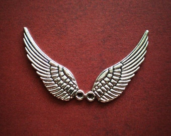 12 silver wing charms ange wingsl bird wing charms 10mm x 30mm (SR)