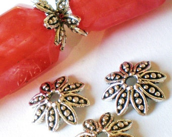 30 bead caps antique silver bali bead caps Diy jewelry supply lead free 13x4x2mm-(U2),
