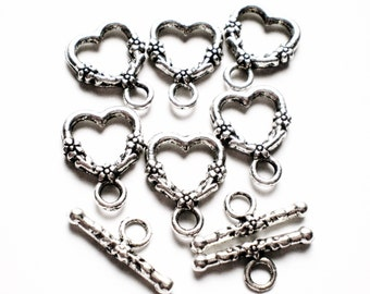 10 Silver toggles heart flower jewelry craft toggles 14mm x 19mm f106y