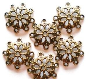 30 Antique bronze bead caps openwork filigree 15mm (SR)