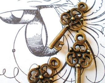 20 bronze skeleton key charms jewelry crafts 9mm 23mm