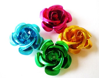 35 assor. color aluminum rose beads jewelry findings supplies 15x14mm