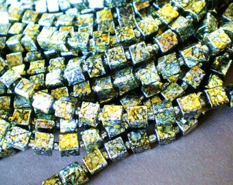 75 glass beads gold silver black marble 6mm RUS