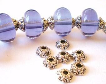 40 jewelry bead caps antiqued silver metal 5.7 x 2 x1mm-SR7-5