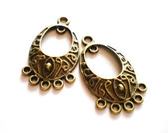 6 Bronze earring chandeliers boho chic 36mm 20mm bh (F5)
