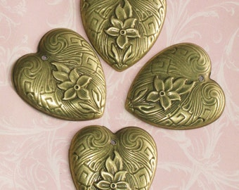6 Bronze heart charms brass stamped heart jewelry supplies findings antique finish 36mm 42mm