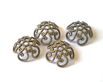 Filigree bead caps bronze  35 vintage style  8x2.5 jewelry craft supplies