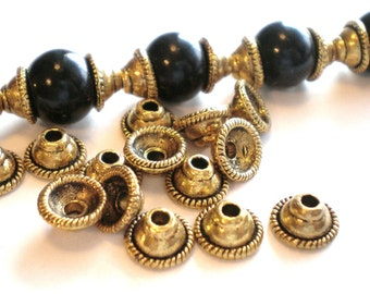 30 bead caps antique gold 8mm x 4mm F5099Y-X6
