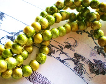 Glass beads 30 gold green drawbench 6mm spacer,earring and jewelry supplies