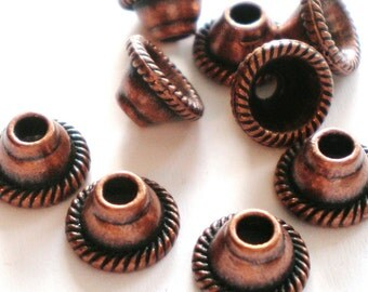 Copper bead caps 30 jewelry supply 8mm 4mm LF5099