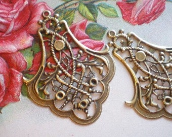 12 Earring chandelier findings bronzed metal 40mm x 53mm  stamped filigee MBC