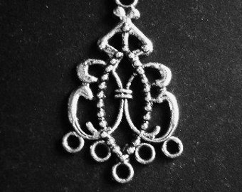 8 chandeliers silver  filigree metal 22mm 38mm