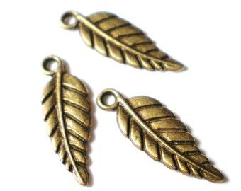 Bronze leaf charms 20 pendants 19mm x 7mm bracelet supplies (CC3)