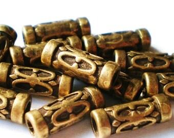 30 Bronze beads antique boho ethnic 12mm 7mm 2mm craft jewelry supplies (SR7),
