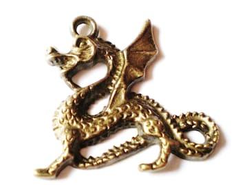 Charms dragon bronze 4 pendants 38mm 35mm BB7