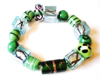 Handmade lampwork beads 15 assorted green strand glass beads (SB3)
