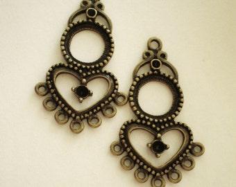 Earring chandelier hoops 6  pendant drops  20mm 35mm boho chic antique bronze jewelry findings (F3)