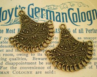 12 Antique bronze chandelier dangles bronze fan pendant drops  34mm 35mm ethnic chic antique bronze jewelry findings