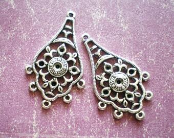 6 Earring  dangle chandeliers silver earring drops ethnic jewelry findings  21mm x 35mm HP(G4)