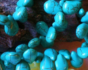 Turquoise beads 35 teardrop briolettes howlite stone beads diy jewelry supply HP-D3