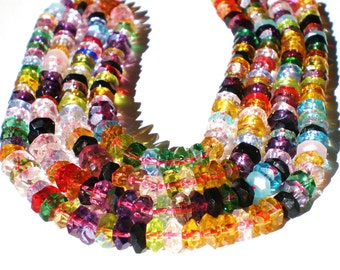 Crystal beads mulit color faceted 5mm 3mm rondelle beadwork beads