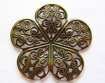 Antique bronze filigree medallion 8 victorian style jewelry supply