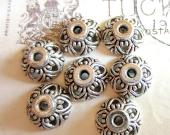 24 silver bead caps bali style jewelry making 10mm x 4mm