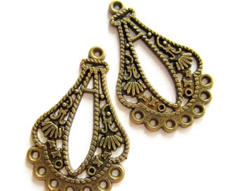 6 Boho chic earring chandeliers bronze finish  earring findings36mm 20mm (F3)
