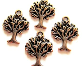 12 Tree charms copper 22mm 17mm antique copper metal jewelry supplies (SR5-5)