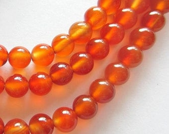 35 Carnelian beads burnt orange gemstone 6mm bead diy jewelry making