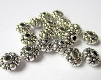 36 Spacer beads 8mm antique silver tibetan style 914y-(S6)