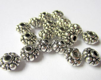 36 Spacer beads 8mm antique silver tibetan style A80