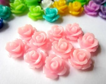 Pink Rose cabochons resin flatback  flower 10mm  jewelry supplies 12 RB780
