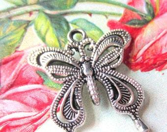 6 Antique silver butterfly pendants 27mm 24mm jewelry bracelet charms