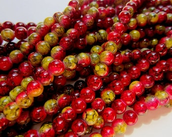 60 Glass beads berry red and gold 6mm beadwork supply