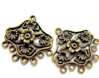 Bronze  Earring Chandelier drops jewelry findings 8 antique bronze earring dangles 27mm 27mm 2mm (F5)