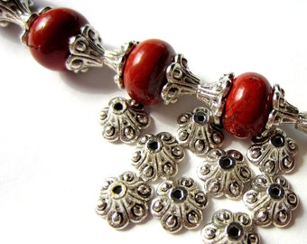 30 Flower bead caps antique silver ethnic jewelry spacer beads necklace making supplies (U5)