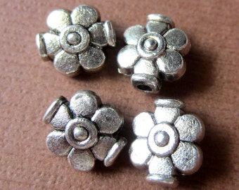 30 Silver Spacer beads antique silver flower beadwork supply
