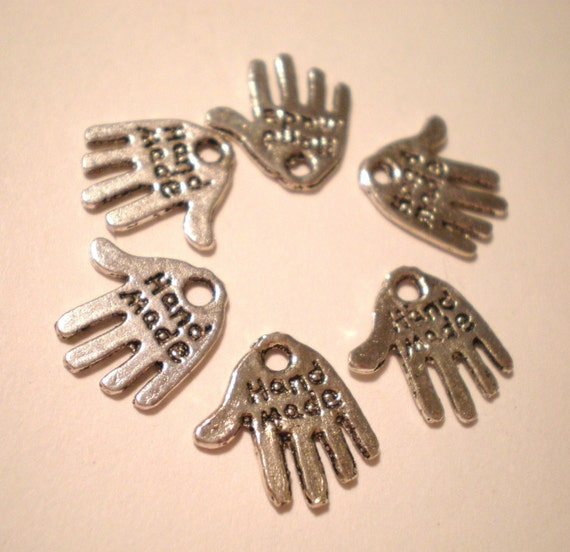 30 Antique silver made by hand Tag Charms Marked Made by Hand  Pendants, Jewelry Tags, Art Work Tags