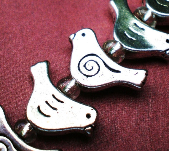 10 bird bead jewelry charms 10x15mm supplies (BB4)