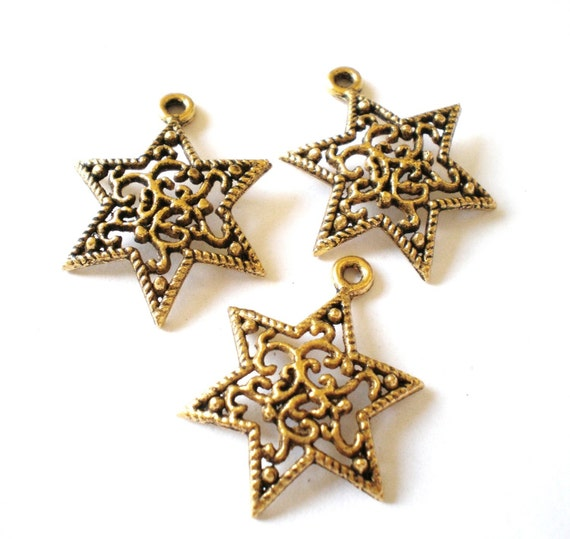 10 Star charms antique gold filigree metal 24mm 18mm earring supply