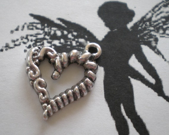 Earring Heart charms 10 Silver twisted whimsical dangel jewelry supplies 16mm 17mm PH DD2