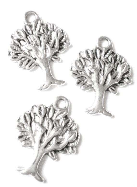 12 Tree charms silver 22mm 17mm antique silver metal jewelry supplies