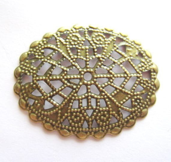 8 Filigree jewelry oval wraps antique bronze medallion victorian style jewelry supply