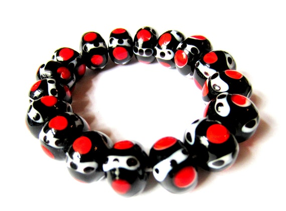 16 lampwork glass beads string set black white red10mm 14mm SB1