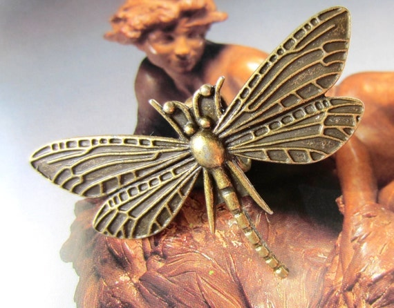 2 Dragonfly charms antique bronze pendants insect jewelry supplies