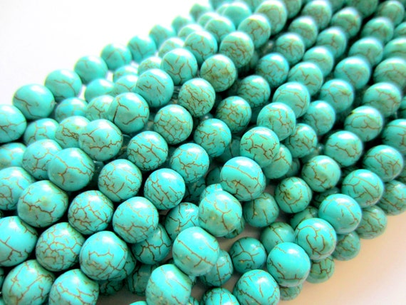 60 Turquoise beads 6mm crackled howlite gemstone E6