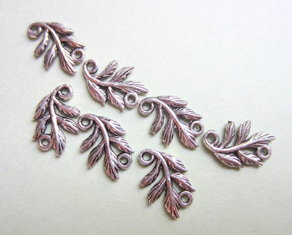 Antique Silver leaf connectors jewelry making 18 leaf charms 15mm