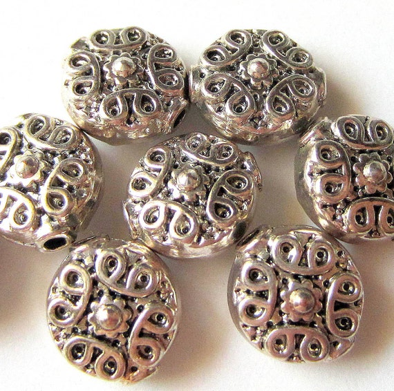 24 Silver metal beads spacers jewelry making supplies 11mm x 10mm x 6mm (SR),