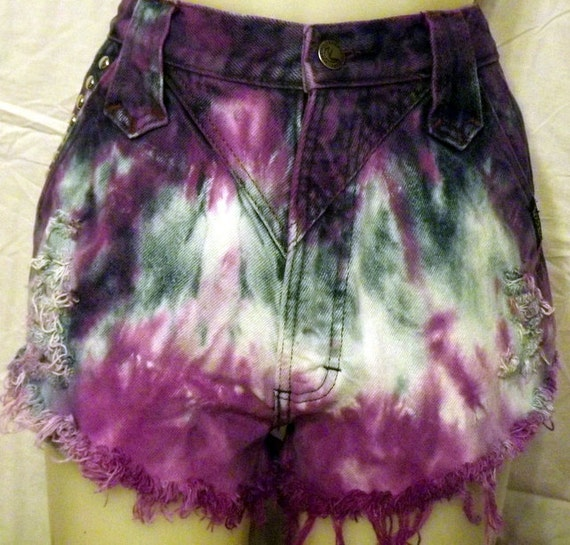 Purple Highwaisted Tie Dyed Denim Cut Offs Shorts-Size Small